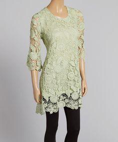 Another great find on #zulily! Green Crochet Linen-Blend Tunic #zulilyfinds