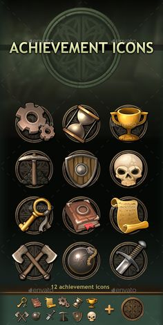 game interface Achievement Icons by a-ravlik Game Icon Design, Game Character Design, Badge Icon, Game Development Company, Game Props, Game Interface, Post Apocalyptic Games, Prop Design, Game Concept Art