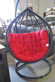 Red patio hammock chair