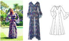 Платье с рукавами-раструбами #burdastyle #burda #платье #бурда