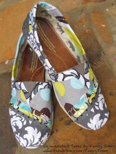 Spruce up those old Tom's with new fabric! definitly need to do this to some of my old toms