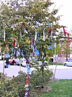Rag tree installation at Grimsby Public Art Gallery, Sept 2012