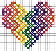 Cross Stitch Heart, Cross Stitch Cards, Simple Cross Stitch, Cross Stitching, Fuse Bead Patterns, Perler Patterns, Quilt Patterns, Cross Stitch Designs, Cross Stitch Patterns