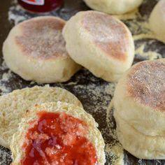 Homemade English Muffins Uk Recipes, Bread Recipes, Baking Recipes, Recipies, English Muffin Recipes, Homemade English Muffins, Savoury Baking, Bread Baking, Yeast Bread