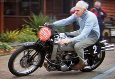 Grandpa on AJS 500cc Supercharged with no helmet