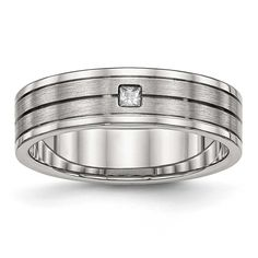Chisel Brushed and Polished Grooved CZ Ring - Sizes 6 - 13, Men's
