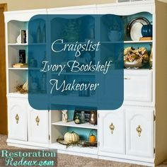 Drab, dreary and grimy bookshelves received a beautiful fresh Ivory and seaside blue makeover with paint.
