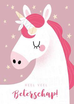 Vrolijke beterschapskaart met eenhoorn en sterren - Beterschapskaarten Kindergarten, Snoopy, Kids Rugs, Fictional Characters, Anton, Super, Posters, Products, Get Well Wishes