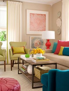 Decorating a living room has never been easier with inspiration from these gorgeous spaces. Discover living room color ideas and smart living room decor tips that will make your space beautiful and livable. Colourful Living Room, Living Room Colors, Home Living Room, Living Room Designs, Living Room Decor, Living Area, Living Room Inspiration, House Colors, Colorful Interiors