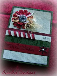 Christmas Greeting Card Country style folk card. Very thick and layered, perfect for a keepsake!