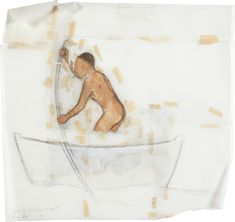 Francis Alÿs, 'Study for el Barco Blanco', 2000 Graphite, oil and adhesive tape on tracing paper 34.3 × 36.2 cm