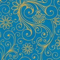Lokta Paper Origami Pack - SWIRLS Gold on Blue