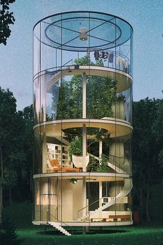 An eye-catching design but perhaps a fir tree isn't the best species to encase in a glass tube? Also, where's the fire pole? An eye-catching design but perhaps a fir tree isn't the best species to encase in a glass tube? Also, where's the fire pole? Home Design, Modern House Design, Urban Design, Modern Houses, Design Ideas, Design Trends, Modern Tree House, Modern Mansion, Design Blogs