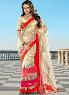 Cream And Red Petch Border Party Ware saree http://www.angelnx.com/Sarees/Bollywood-Sarees