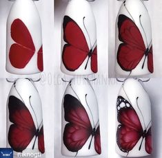 Nail art ideas tutorial ongles 58 Ideas for 2019 Butterfly Nail Designs, Butterfly Nail Art, New Nail Designs, Flower Nail Art, Nail Art Modele, Diy Nails, Manicure, Nail Techniques, Trendy Nail Art