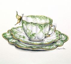 Green Shelley Teacup with Butterfly