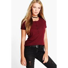 Boohoo Basics Sally Ribbed button Through T-Shirt ($16) ❤ liked on Polyvore featuring tops, t-shirts, wine, crop tee, long sleeve t shirts, long sleeve crop top, crew neck t shirt and high neck crop top
