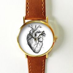 Human Anatomy Heart Watch  Vintage Style Leather by FreeForme