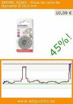 DREMEL SC545 - Disco de corte de diamante Ø 38,0 mm (Herramientas y Mejora del hogar). Baja 45%! Precio actual 10,09 €, el precio anterior fue de 18,46 €. https://www.adquisitio.es/dremel/dremel-sc545-disco-corte