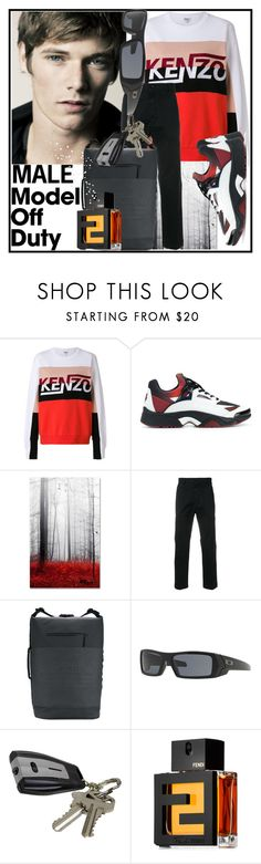 """""""Male Model"""" by anniecy ❤ liked on Polyvore featuring Kenzo, Trademark Fine Art, Diesel, adidas Originals, Oakley, Fendi, men's fashion and menswear"""