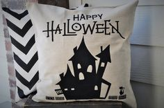 This linen Haunted House pillow cover is sure to add texture, dimension and interest to your Halloween decor. It is available in a natural colored linen with the Haunted House in black. YOU CAN CUSTOM