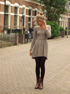 Opinions Required... am I too old for this look I love it. Fall dress, leggings, and boots.