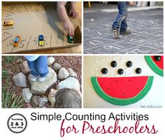Simple counting activities for preschoolers from Teaching 2 and 3 Year Olds.