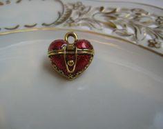 Red Enamel Heart Locket Charm