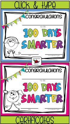 Fun way to celebrate 100th Day of School. Click to edit! ($)