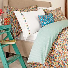 Julie Dodsworth Chicks In The Eaves Cushion from Palmers Department Store Online. Bed Curtains, Floral Bedding, Spare Room, Cotton Canvas, Vintage Fashion, Cushions, Store Online, Blanket, Department Store