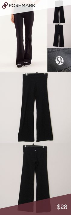 """Lululemon Athletica Wide Leg Yoga Pants LULULEMON Athletica Wide Leg Black Yoga Pants. Size 6. Has normal signs of use with MINOR PILLING inside the waist band, otherwise still in great condition. Sold as is! Materials:  86% Nylon/14%Spandex Measurements (laying flat): • Waist - 28"""" (around) • Front Rise - 9.5"""" • Back Rise - 11""""  • Inseam - 32""""  • Length - 39""""  • Leg Cuff - 10.5"""" ~❌SWAP❌TRADE ~ ✔️❤️Bundles📦💕 ~✔️Smoke-free/pet-free home lululemon athletica Pants Track Pants & Joggers"""