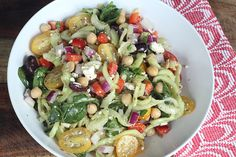 Greek Pasta Salad | Inspiralized.com [Recipe comes from a site advertizing a machine that makes cucumber and other veggies into pasta-like strings]