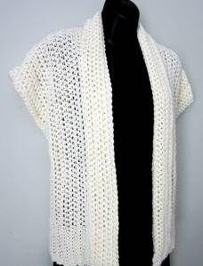 Crocheted shrug or cap sleeve cardigan. Free pattern.