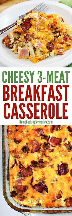 The meat lovers breakfast!! Cheesy 3-Meat Breakfast Casserole recipe with bacon, sausage, AND ham, plus plenty of cheese and eggs! Bake this for an easy weekend breakfast meal or for an easy holiday brunch.
