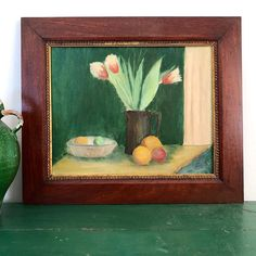 A Modernist Danish Still Life, mid Century. A welcoming table scene of fruit with tulips in a pewter tankard. Beautiful strong colour and a lovely composition. The painting sits. Be Still, Still Life, Pewter Tankard, Green Ground, Candlesticks, French Antiques, Vintage Art, Tulips, Oil On Canvas