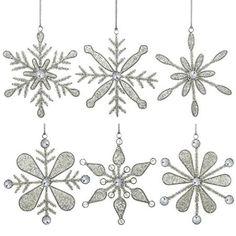 Danglers Snowflake Decorations Christmas Tree Ornaments 15.24 cm Set of 6: Amazon.co.uk: Kitchen & Home