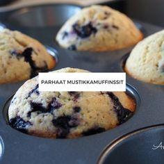 Mustikkamuffinssit Pavlova, Feta, Cupcakes, Cookies, Baking, Breakfast, Party, Desserts, Recipes