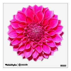 Hot Pink Dahlia Decorative Wall Decal #flowers #floral #dahlias #walldecor #wallgraphics #walldecorations #wallstickers