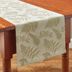 Fern Table Runner 13 x 54 Natural Home Decor, Earth Tones, Ferns, Table Runners, Dining Table, Texture, Spring, Garden, Floral