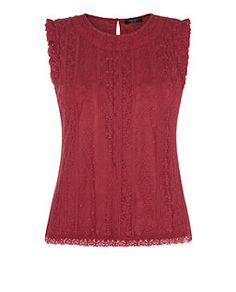 Red (Red) Petite Red Embroidered Floral Mesh Top  | 307292360 | New Look