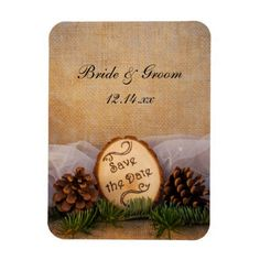 Rustic Pines Woodland Wedding Save the Date Magnet