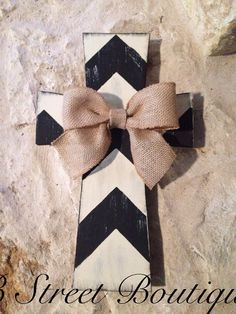 Wooden Chevron Wall Cross with Burlap Bow on Etsy, $25.00