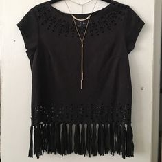 Suede ,fringe, cutout top New with no tags. Was a bit too tight for me . Love the cut out details. Fringe & suede . Necklace not included. Xhilaration Tops Blouses