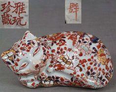 Early 19c Japanese Imari porcelain resting CAT marked