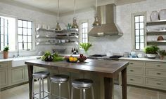 Tracery Interiors - kitchens - Crate & Barrel Spin Counter Stool, taupe, base, kitchen cabinets, marble, countertops, marble, subway tiles, backsplash, farmhouse sink, stainless steel, floating shelves, taupe, kitchen island, butcher block, top, mini, industrial, pendants,