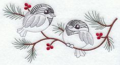 """Vintage-Stitch Chickadee DuoProduct ID:C7219 Size:6.85""""(w) x 3.68""""(h) (174.1 x 93.5 mm)Color Changes:8 Stitches:7012Colors Used:7"""