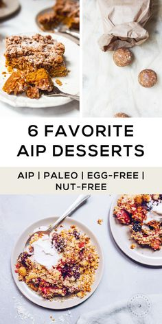 Baking on the AIP diet can be a STRETCH sometimes am I right? Without eggs nut flours and even baking powder it can really present a challenge. But where theres a will (or a craving) theres definitely a way. Im sharing 6 of my FAVORITE AIP Paleo d Paleo Dessert, Diet Desserts, Healthy Dessert Recipes, Real Food Recipes, Paleo Meals, Paleo Food, Diet Snacks, Diet Recipes, Healthy Snacks