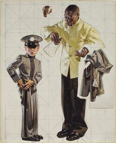 Joseph Christian Leyendecker (1874-1951) Tipping the Porter signed with conjoined initials 'JCLeyendecker' (lower right) oil and pencil on canvas 30 x 24 in. (76.2 x 61 cm.) Painted circa 1937.