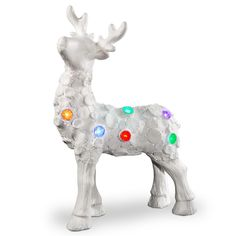 Bring modern elegance to your Christmas décor with the LED Light Reindeer from National Tree Company. Finished in clean white, this reindeer features an ornate pattern of circular tiles with some open so the color-changing LED lights can shine through. Reindeer Decorations, Christmas Decorations, Battery Operated Led Lights, Resin Material, White Led Lights, White Lead, Accent Colors, Christmas Home, Red And Blue
