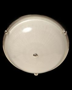 Marvin Alexander,Inc. Nickeled bronze and ribbed glass flushmount with button, four lights